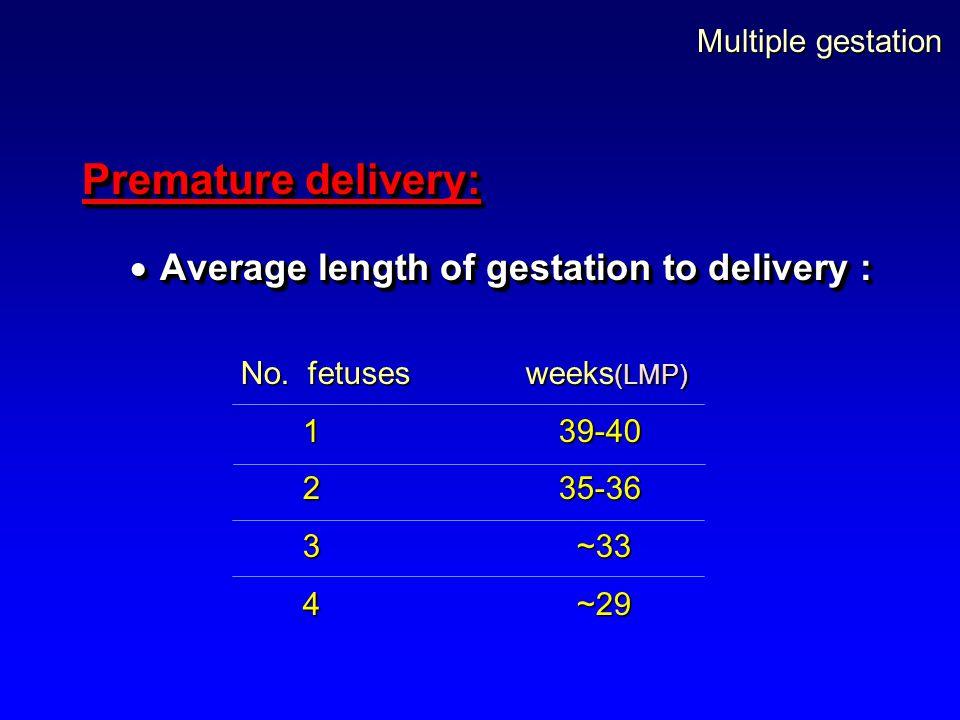 Multiple gestation Premature delivery:  Average length of gestation to delivery : Premature delivery:  Average length of gestation to delivery : No.