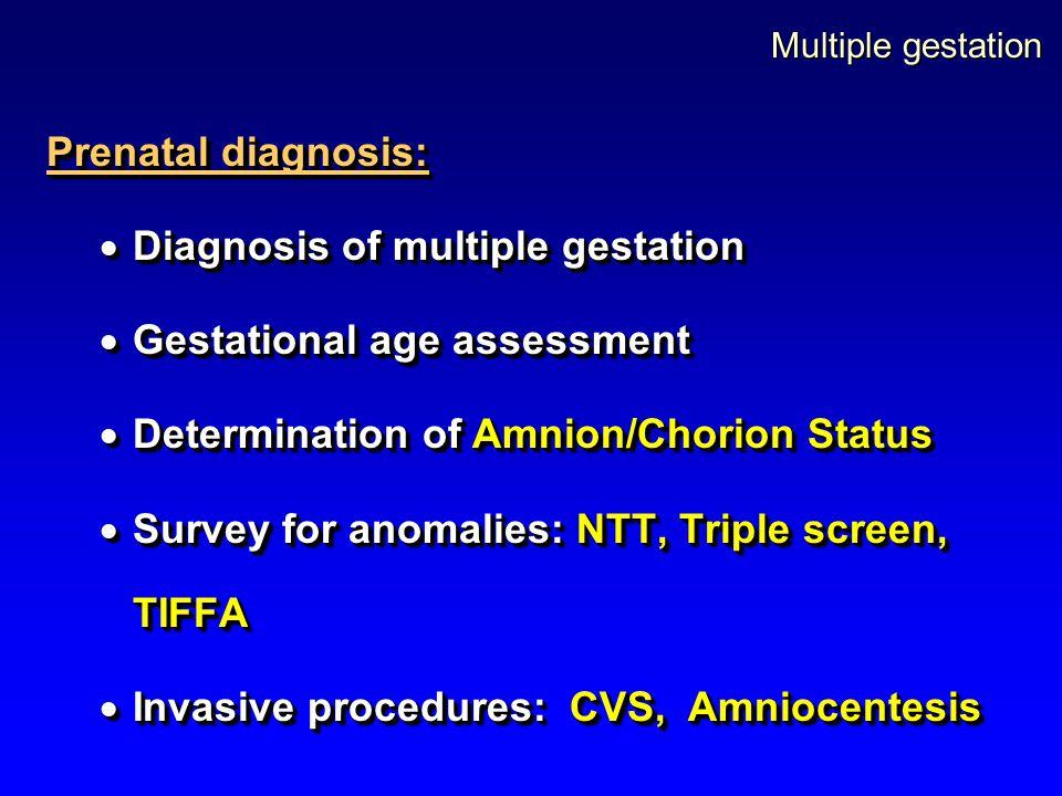 Multiple gestation Prenatal diagnosis:  Diagnosis of multiple gestation  Gestational age assessment  Determination of Amnion/Chorion Status  Surve
