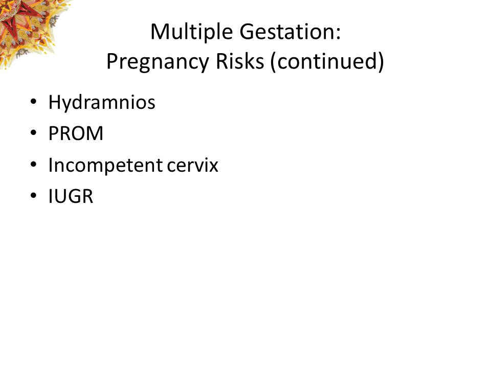 Multiple Gestation: Pregnancy Risks (continued) Hydramnios PROM Incompetent cervix IUGR