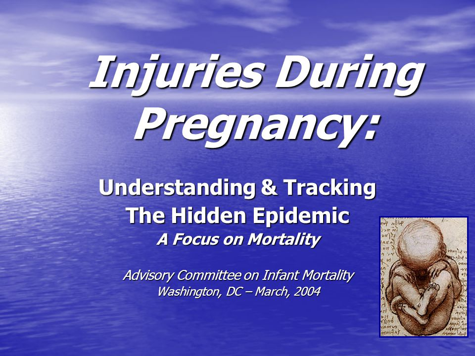 Injuries During Pregnancy: Understanding & Tracking The Hidden Epidemic A Focus on Mortality Advisory Committee on Infant Mortality Washington, DC – March, 2004