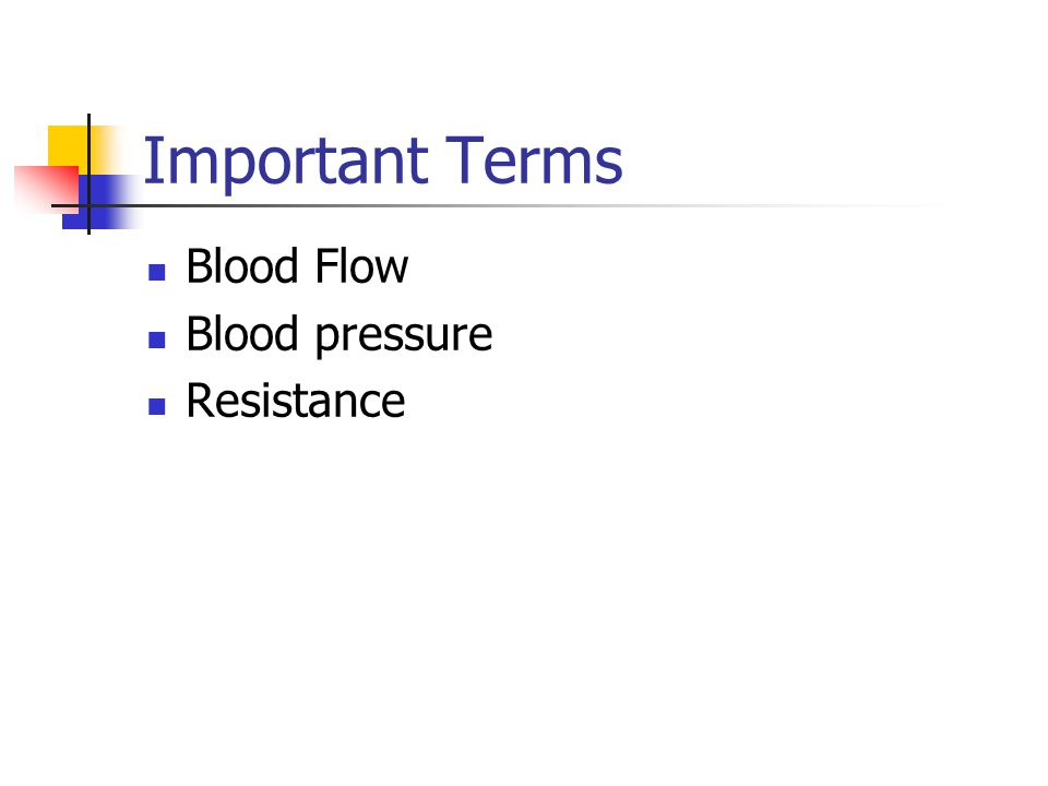 Important Terms Blood Flow Blood pressure Resistance