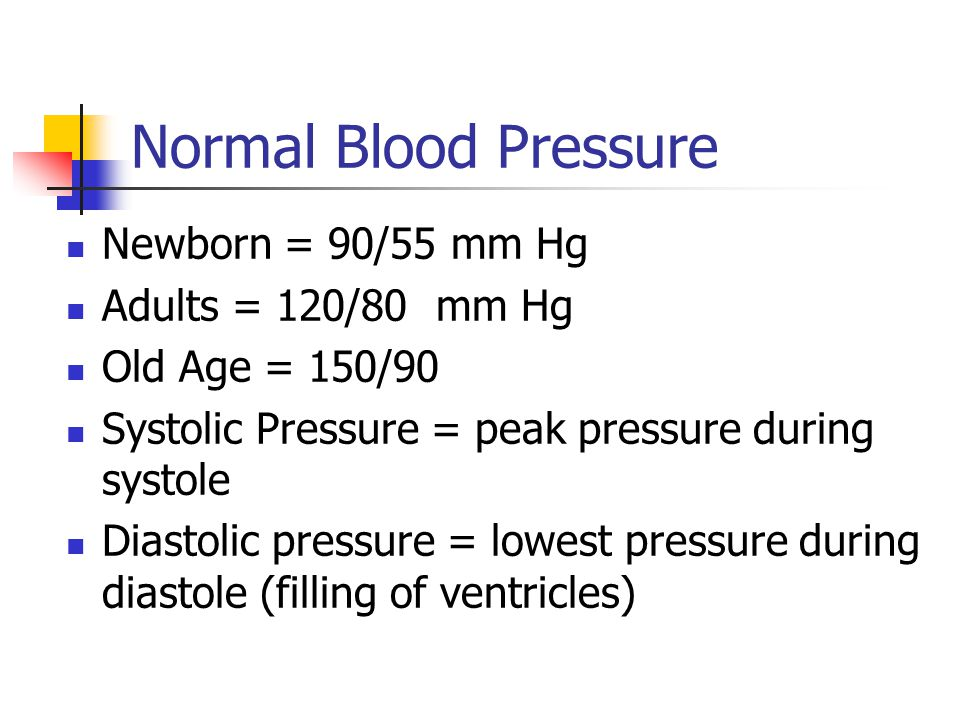 Normal Blood Pressure Newborn = 90/55 mm Hg Adults = 120/80 mm Hg Old Age = 150/90 Systolic Pressure = peak pressure during systole Diastolic pressure