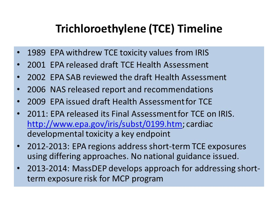 Trichloroethylene (TCE) Timeline 1989 EPA withdrew TCE toxicity values from IRIS 2001 EPA released draft TCE Health Assessment 2002 EPA SAB reviewed the draft Health Assessment 2006 NAS released report and recommendations 2009 EPA issued draft Health Assessment for TCE 2011: EPA released its Final Assessment for TCE on IRIS.
