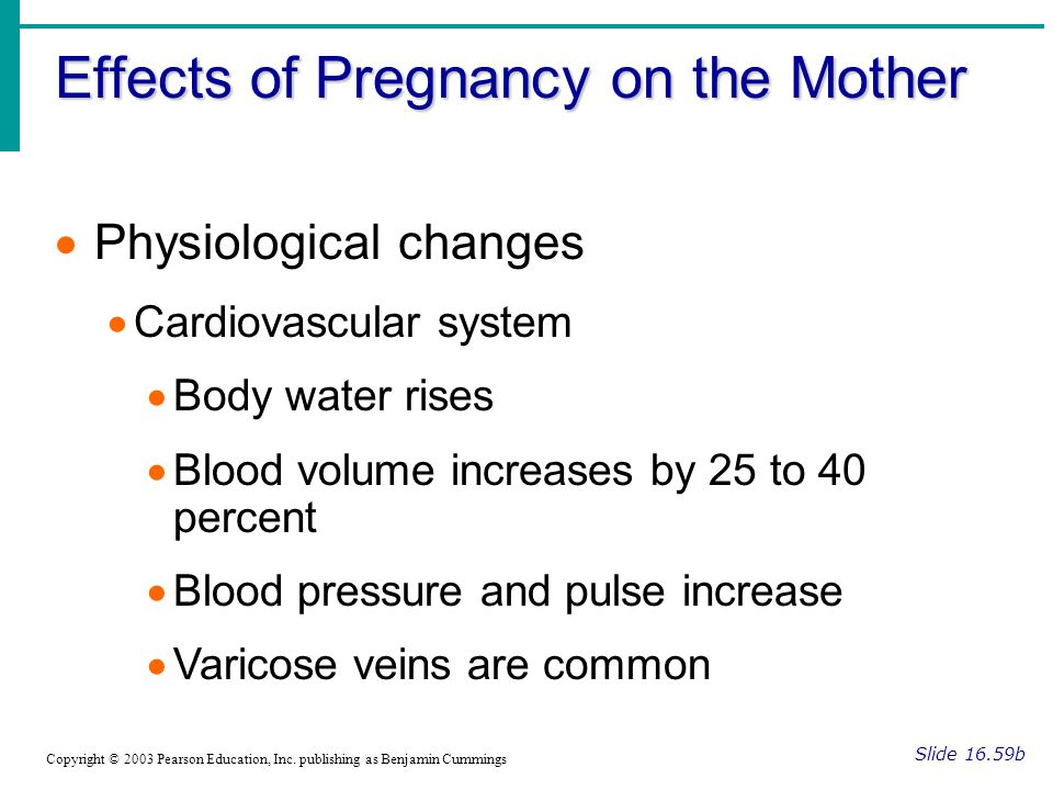 Effects of Pregnancy on the Mother Slide 16.59b Copyright © 2003 Pearson Education, Inc. publishing as Benjamin Cummings  Physiological changes  Car