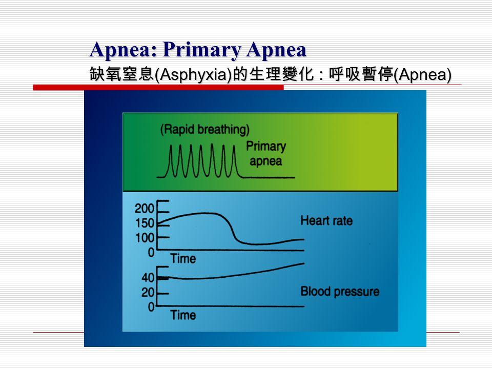 Apnea: Primary Apnea 缺氧窒息 (Asphyxia) 的生理變化 : 呼吸暫停 (Apnea)