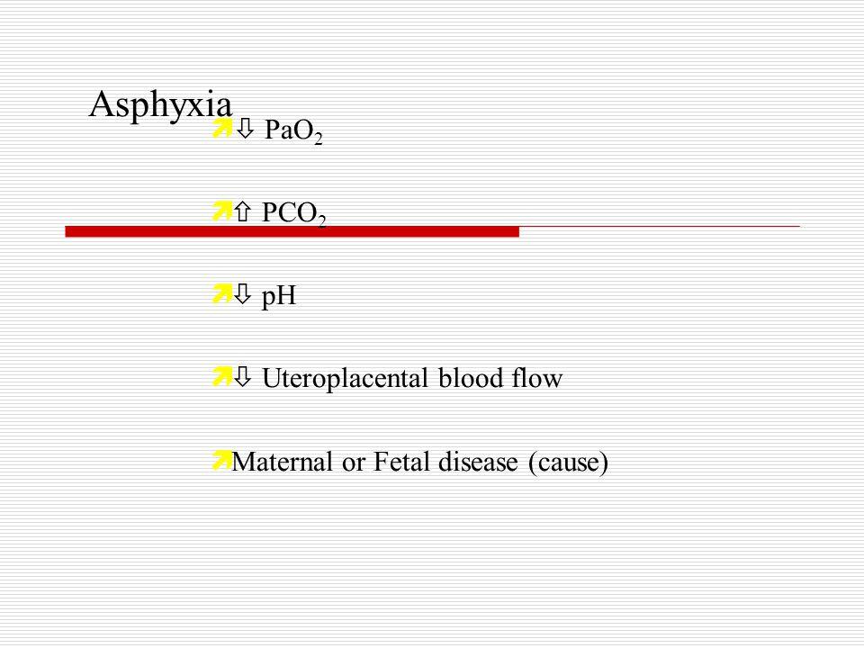 Asphyxia   PaO 2 ì  PCO 2 ì  pH ì  Uteroplacental blood flow ì Maternal or Fetal disease (cause)