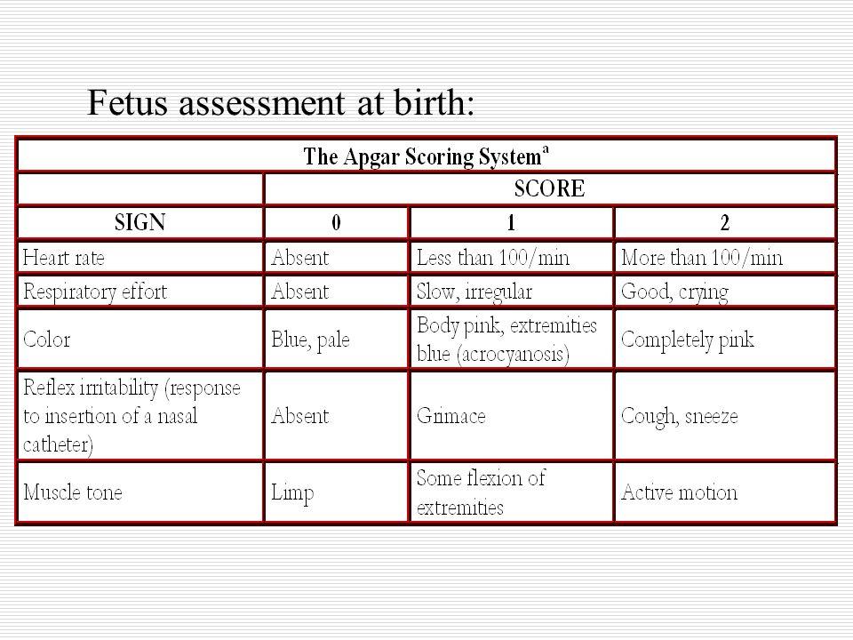 Fetus assessment at birth: