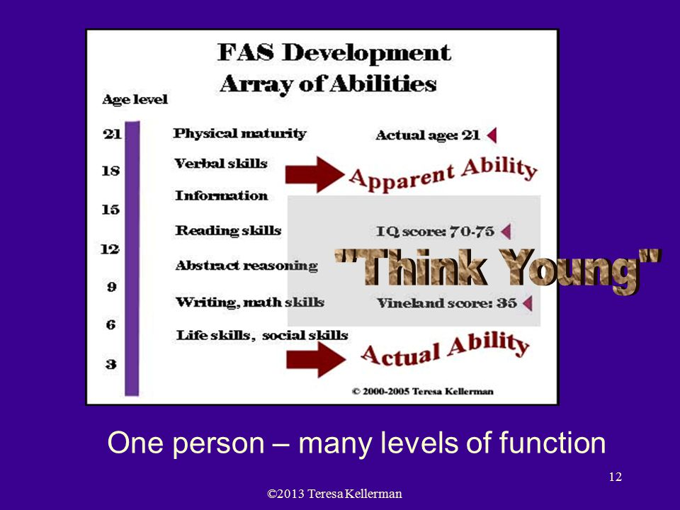 ©2013 Teresa Kellerman 12 One person – many levels of function