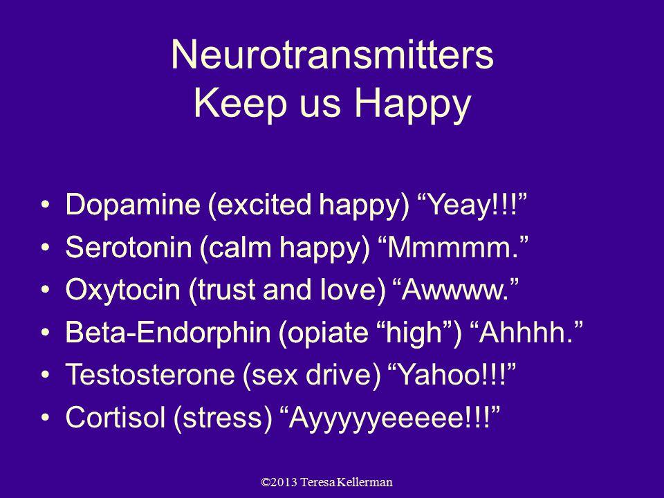 ©2013 Teresa Kellerman Neurotransmitters Keep us Happy Dopamine (excited happy) Serotonin (calm happy) Oxytocin (trust and love) Beta-Endorphin (opiate high ) Dopamine (excited happy) Yeay!!! Serotonin (calm happy) Mmmmm. Oxytocin (trust and love) Awwww. Beta-Endorphin (opiate high ) Ahhhh. Testosterone (sex drive) Yahoo!!! Cortisol (stress) Ayyyyyeeeee!!!