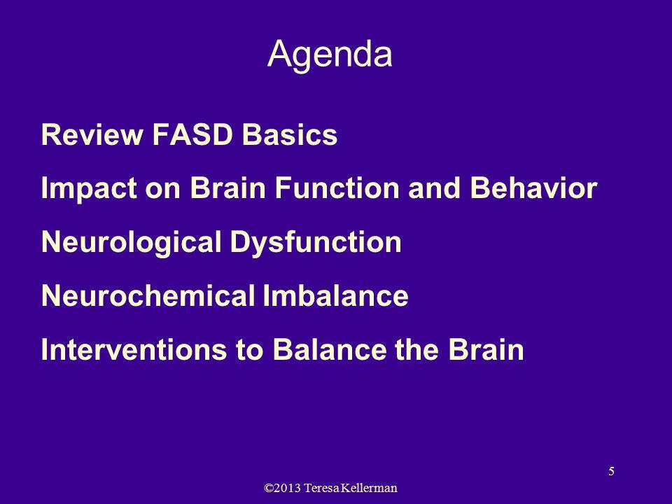 ©2013 Teresa Kellerman 5 Agenda Review FASD Basics Impact on Brain Function and Behavior Neurological Dysfunction Neurochemical Imbalance Interventions to Balance the Brain