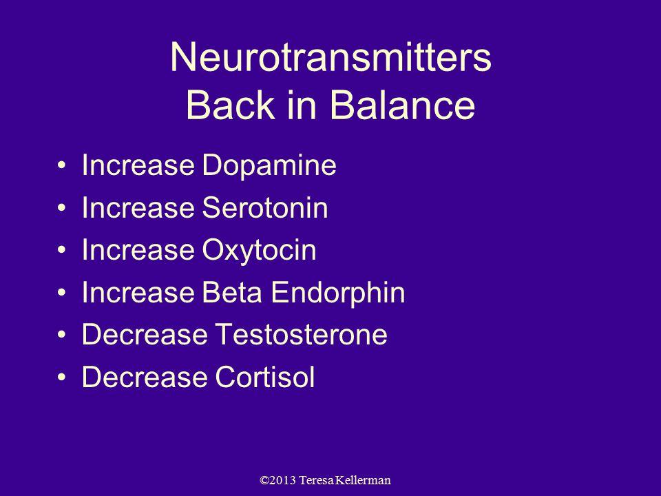 ©2013 Teresa Kellerman Neurotransmitters Back in Balance Increase Dopamine Increase Serotonin Increase Oxytocin Increase Beta Endorphin Decrease Testosterone Decrease Cortisol