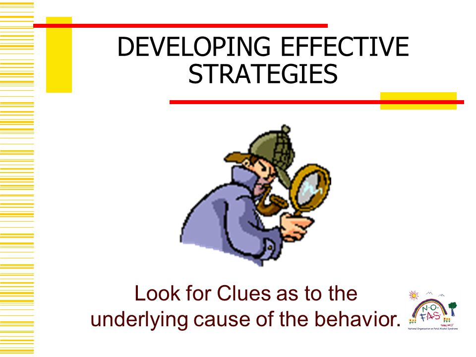 Look for Clues as to the underlying cause of the behavior. DEVELOPING EFFECTIVE STRATEGIES