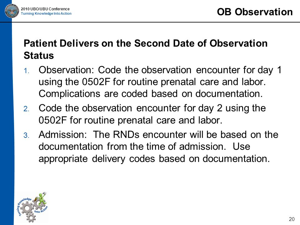 2010 UBO/UBU Conference Turning Knowledge Into Action 20 Patient Delivers on the Second Date of Observation Status 1.