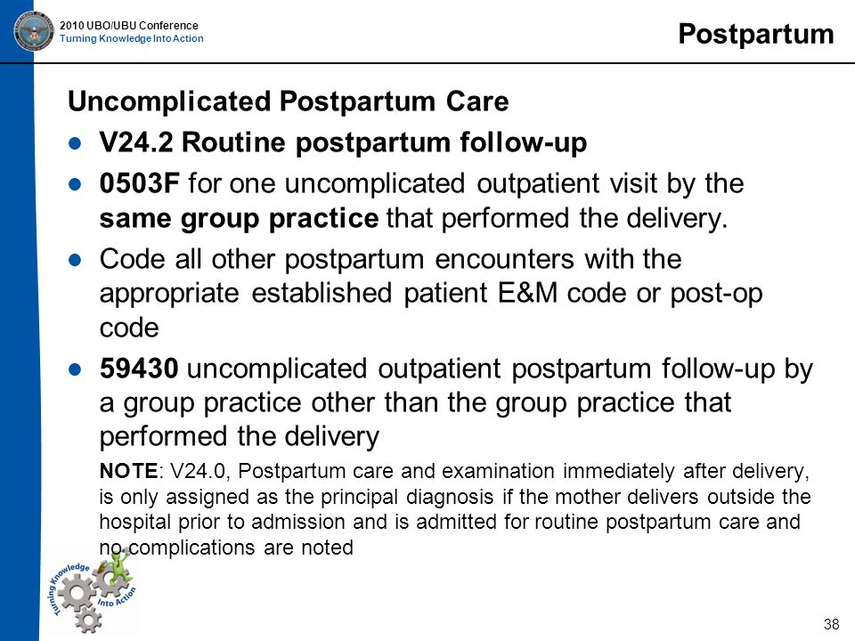 2010 UBO/UBU Conference Turning Knowledge Into Action 38 Postpartum Uncomplicated Postpartum Care V24.2 Routine postpartum follow-up 0503F for one uncomplicated outpatient visit by the same group practice that performed the delivery.
