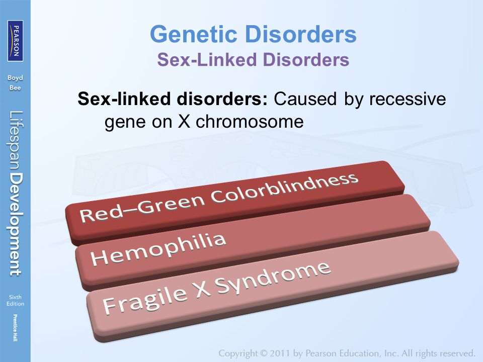 Genetic Disorders Sex-Linked Disorders Sex-linked disorders: Caused by recessive gene on X chromosome