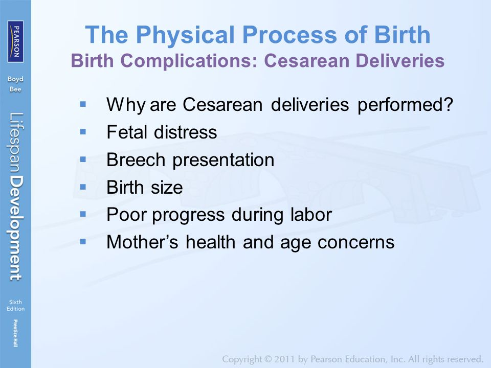 The Physical Process of Birth Birth Complications: Cesarean Deliveries  Why are Cesarean deliveries performed?  Fetal distress  Breech presentation