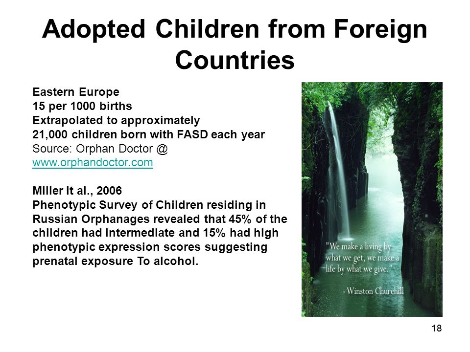 18 Adopted Children from Foreign Countries Eastern Europe 15 per 1000 births Extrapolated to approximately 21,000 children born with FASD each year Source: Orphan Doctor @ www.orphandoctor.com www.orphandoctor.com Miller it al., 2006 Phenotypic Survey of Children residing in Russian Orphanages revealed that 45% of the children had intermediate and 15% had high phenotypic expression scores suggesting prenatal exposure To alcohol.