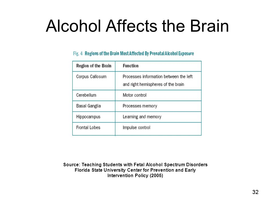 32 Alcohol Affects the Brain Source: Teaching Students with Fetal Alcohol Spectrum Disorders Florida State University Center for Prevention and Early Intervention Policy (2005)