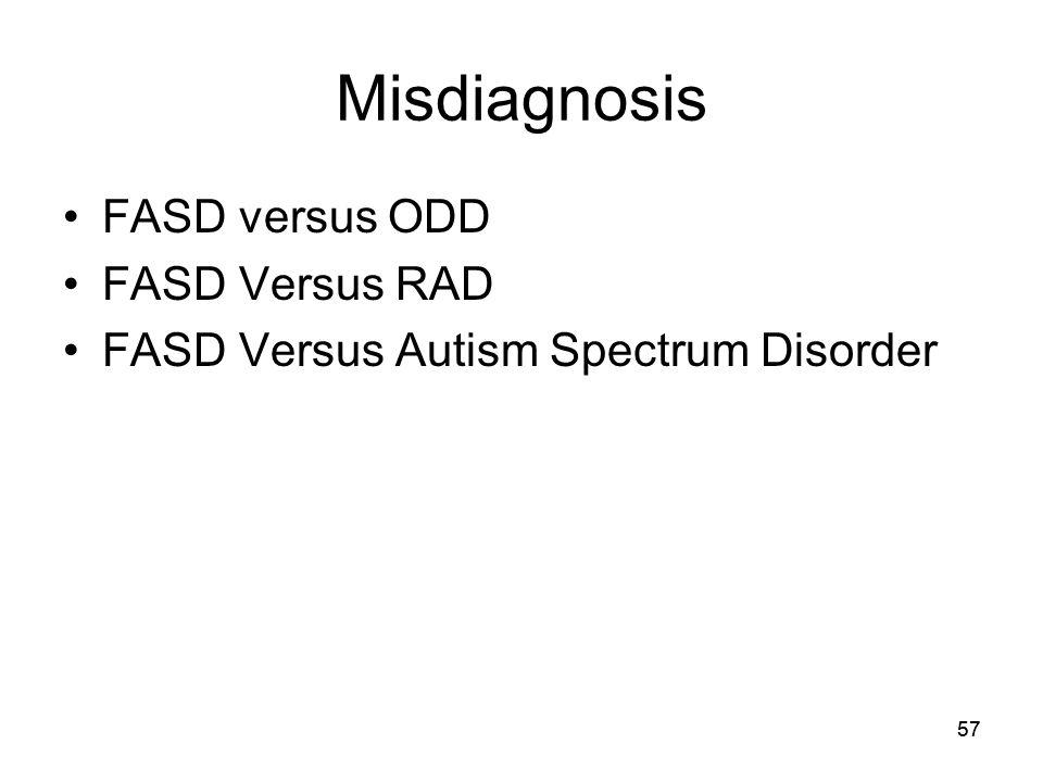 57 Misdiagnosis FASD versus ODD FASD Versus RAD FASD Versus Autism Spectrum Disorder