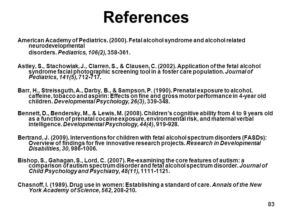 83 References American Academy of Pediatrics. (2000).