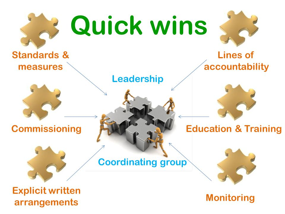 Lines of accountability Standards & measures Quick wins Explicit written arrangements Coordinating group Monitoring CommissioningEducation & Training Coordinating group Leadership