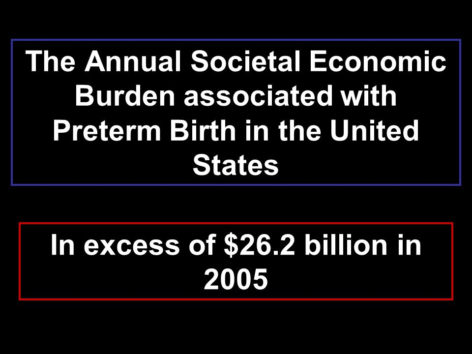 The Annual Societal Economic Burden associated with Preterm Birth in the United States In excess of $26.2 billion in 2005