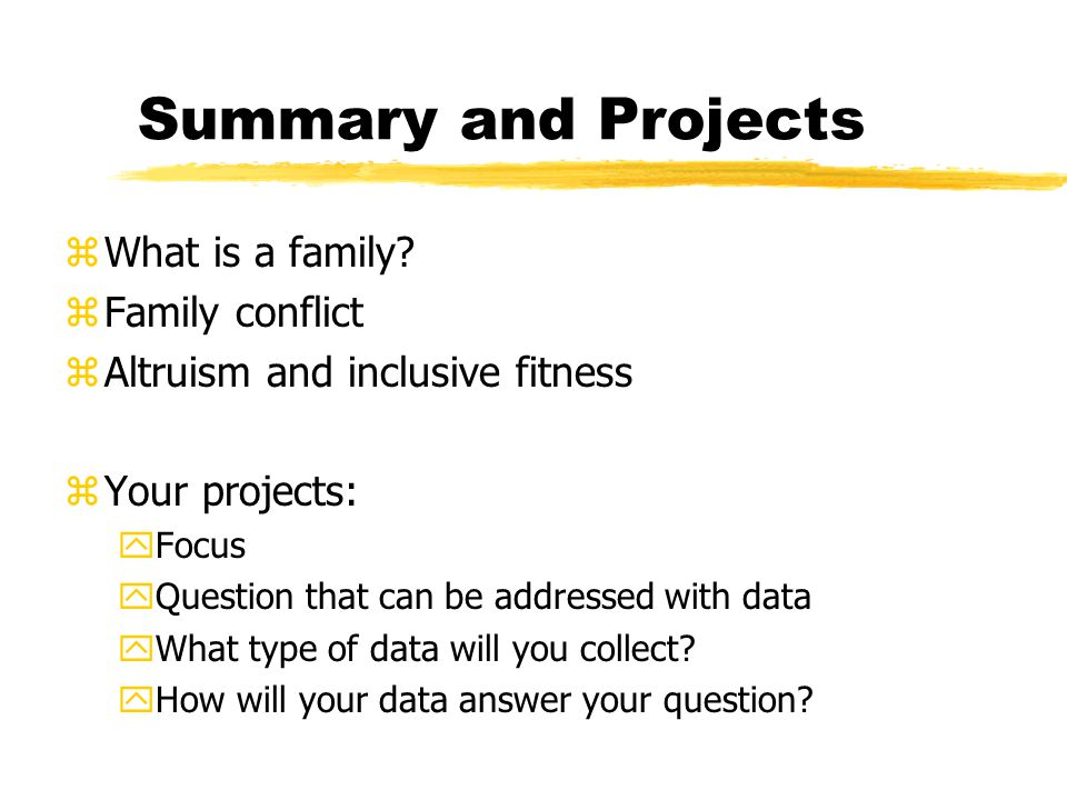 Summary and Projects zWhat is a family.