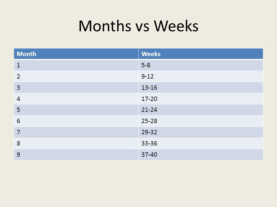 Months vs Weeks MonthWeeks 15-8 29-12 313-16 417-20 521-24 625-28 729-32 833-36 937-40
