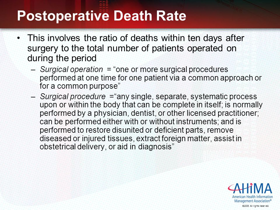 ©2006 All rights reserved. Postoperative Death Rate This involves the ratio of deaths within ten days after surgery to the total number of patients op