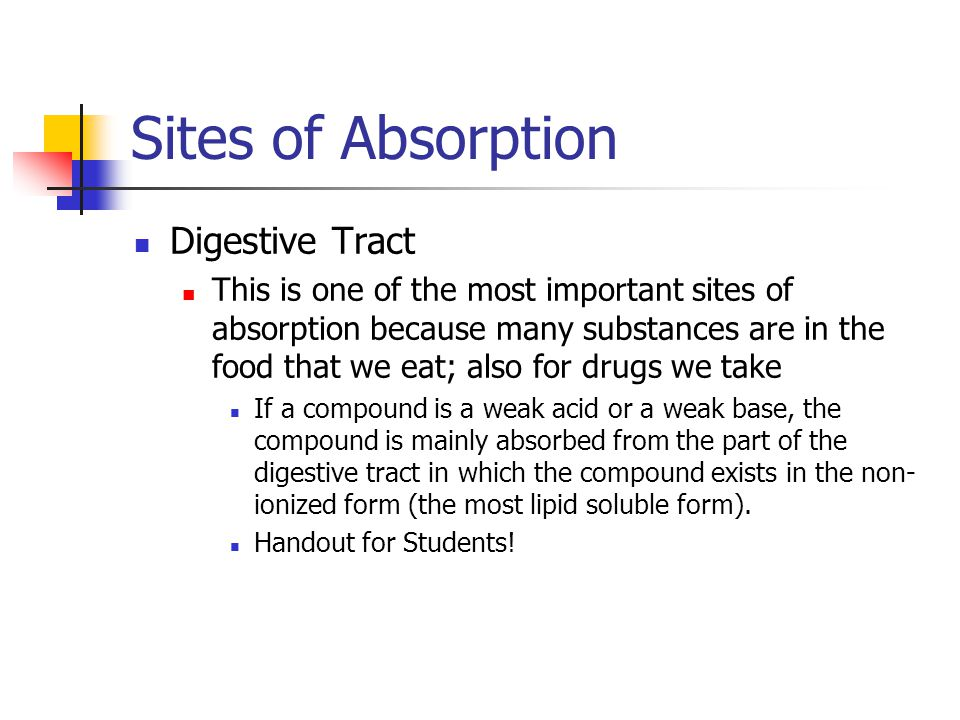 Sites of Absorption Digestive Tract This is one of the most important sites of absorption because many substances are in the food that we eat; also fo