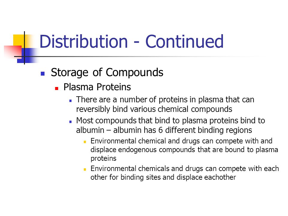 Distribution - Continued Storage of Compounds Plasma Proteins There are a number of proteins in plasma that can reversibly bind various chemical compounds Most compounds that bind to plasma proteins bind to albumin – albumin has 6 different binding regions Environmental chemical and drugs can compete with and displace endogenous compounds that are bound to plasma proteins Environmental chemicals and drugs can compete with each other for binding sites and displace eachother