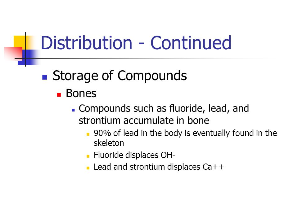 Distribution - Continued Storage of Compounds Bones Compounds such as fluoride, lead, and strontium accumulate in bone 90% of lead in the body is eventually found in the skeleton Fluoride displaces OH- Lead and strontium displaces Ca++