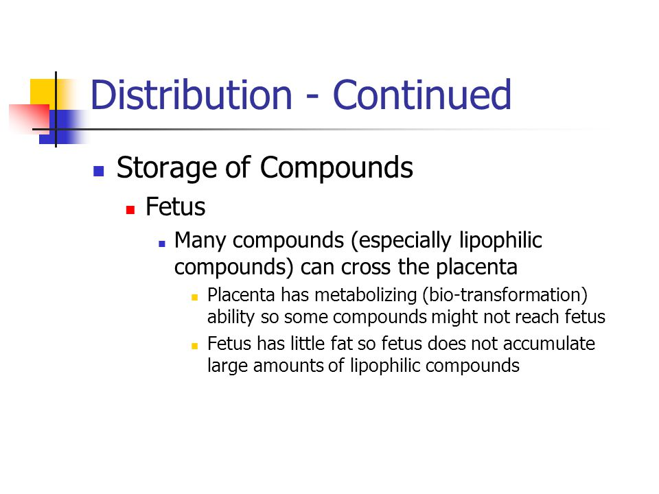 Distribution - Continued Storage of Compounds Fetus Many compounds (especially lipophilic compounds) can cross the placenta Placenta has metabolizing