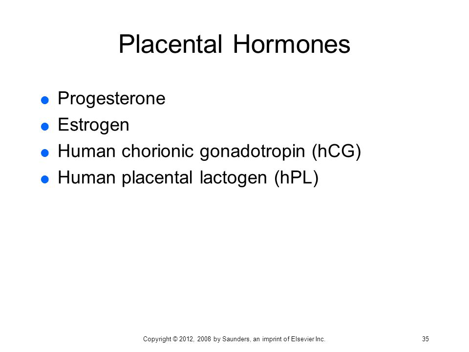 Placental Hormones  Progesterone  Estrogen  Human chorionic gonadotropin (hCG)  Human placental lactogen (hPL) Copyright © 2012, 2008 by Saunders,