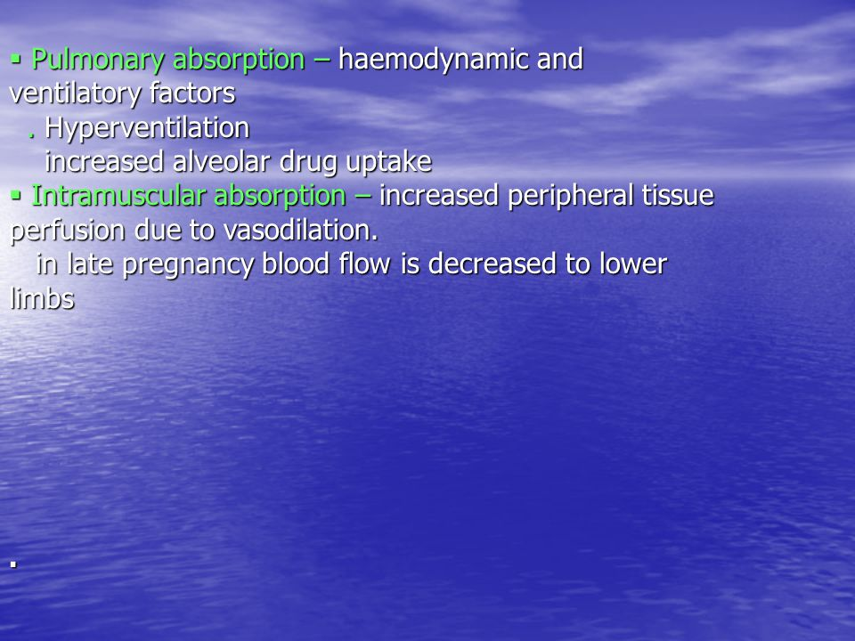 Pulmonary absorption – haemodynamic and ventilatory factors.