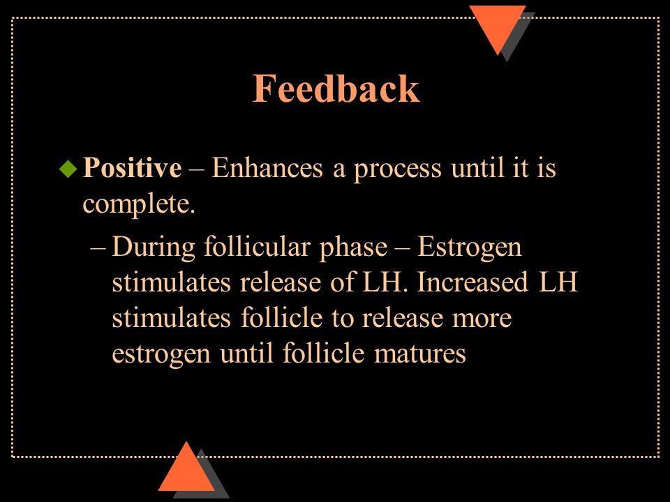 Feedback u Positive – Enhances a process until it is complete.