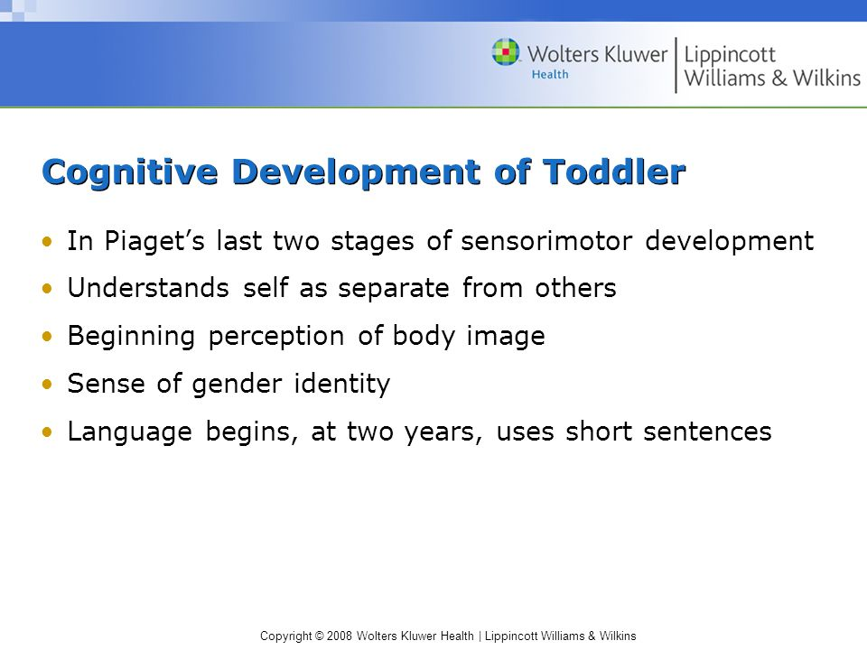 Copyright © 2008 Wolters Kluwer Health | Lippincott Williams & Wilkins Cognitive Development of Toddler In Piaget's last two stages of sensorimotor development Understands self as separate from others Beginning perception of body image Sense of gender identity Language begins, at two years, uses short sentences