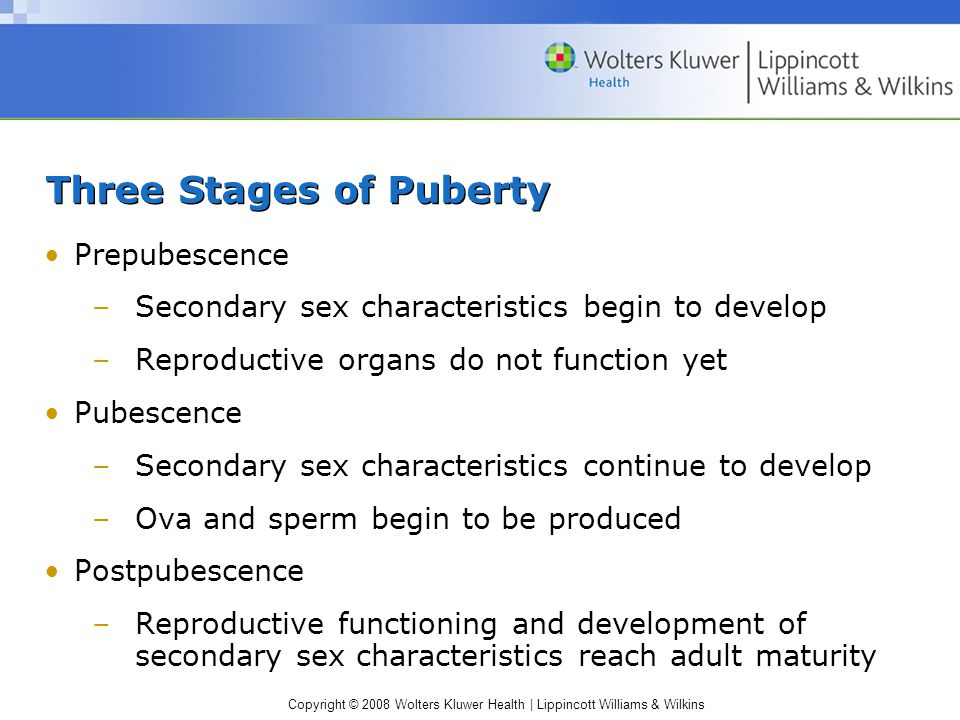 Copyright © 2008 Wolters Kluwer Health | Lippincott Williams & Wilkins Three Stages of Puberty Prepubescence –Secondary sex characteristics begin to develop –Reproductive organs do not function yet Pubescence –Secondary sex characteristics continue to develop –Ova and sperm begin to be produced Postpubescence –Reproductive functioning and development of secondary sex characteristics reach adult maturity