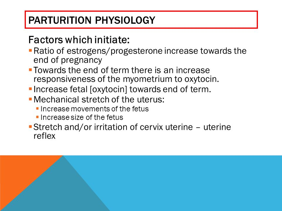 PARTURITION PHYSIOLOGY Factors which initiate:  Ratio of estrogens/progesterone increase towards the end of pregnancy  Towards the end of term there is an increase responsiveness of the myometrium to oxytocin.