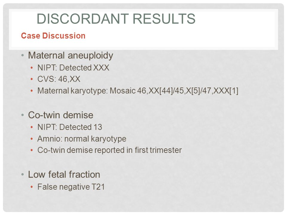 DISCORDANT RESULTS Maternal aneuploidy NIPT: Detected XXX CVS: 46,XX Maternal karyotype: Mosaic 46,XX[44]/45,X[5]/47,XXX[1] Co-twin demise NIPT: Detected 13 Amnio: normal karyotype Co-twin demise reported in first trimester Low fetal fraction False negative T21 Case Discussion