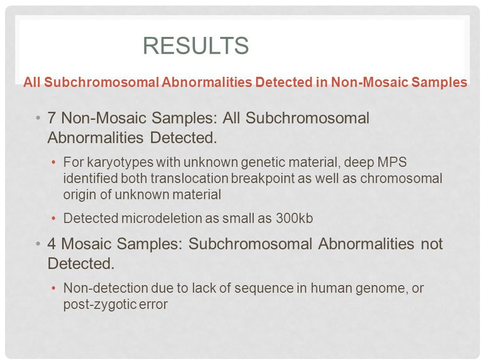 RESULTS 7 Non-Mosaic Samples: All Subchromosomal Abnormalities Detected. For karyotypes with unknown genetic material, deep MPS identified both transl