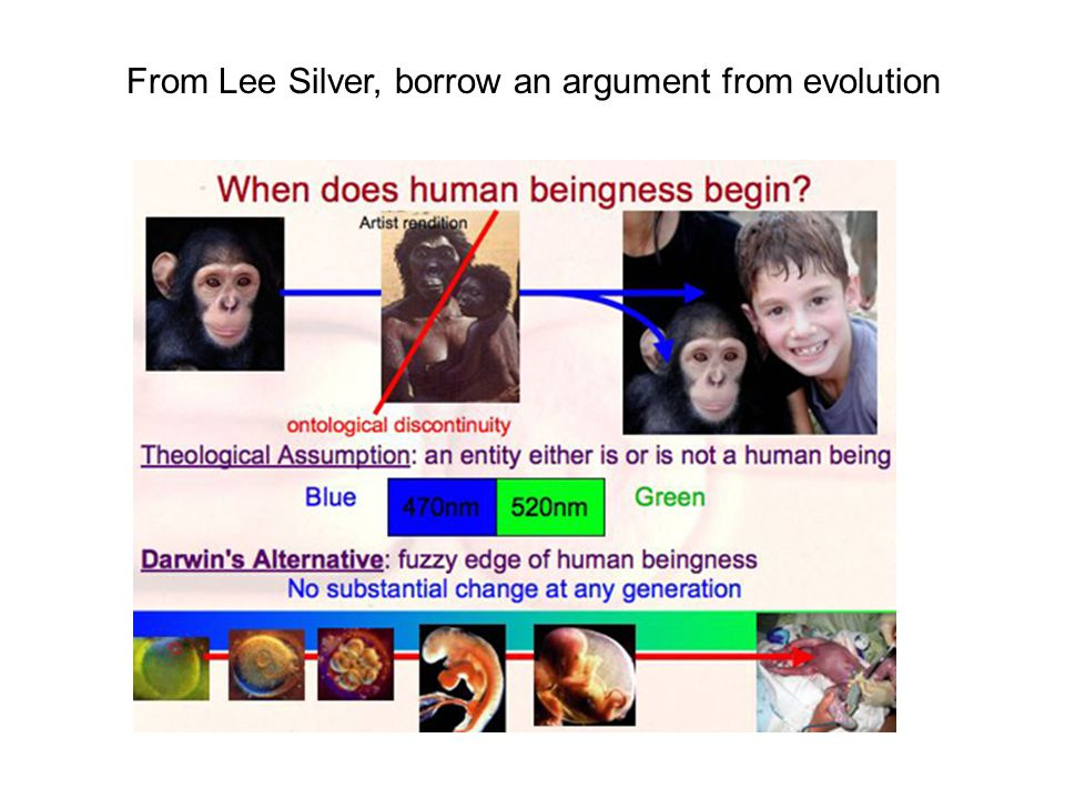From Lee Silver, borrow an argument from evolution