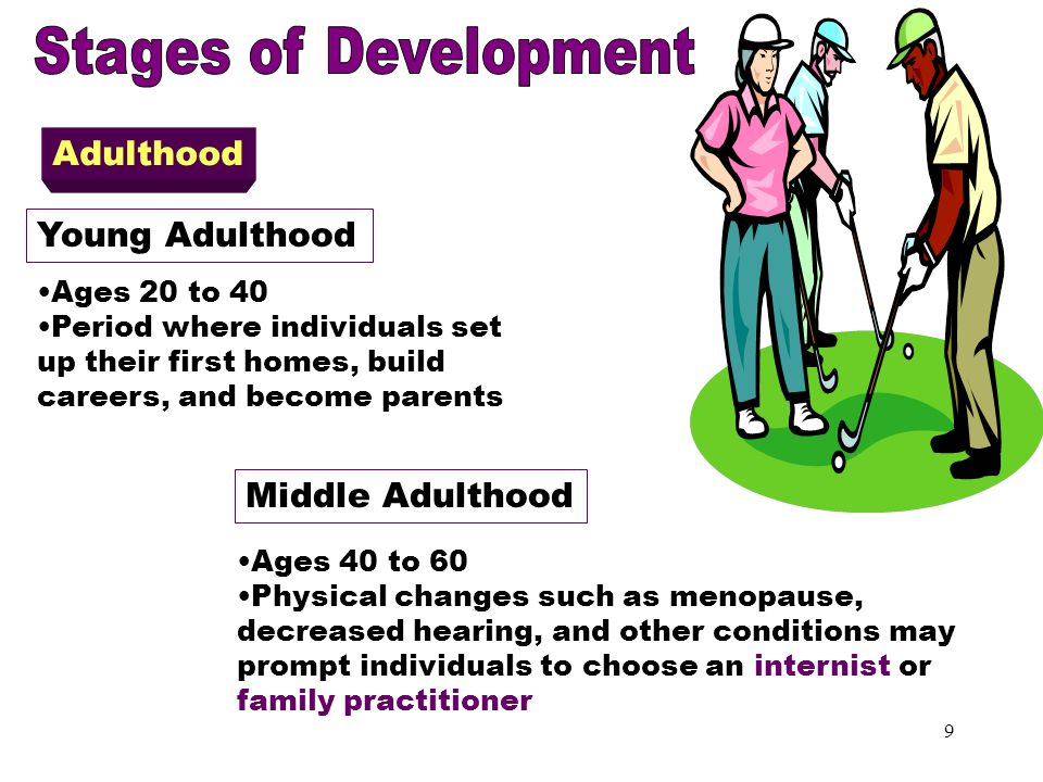 8 Adolescence Period of physical maturation Usually between ages 13 to 19 Experience conflict of being more physically mature than emotionally Seconda