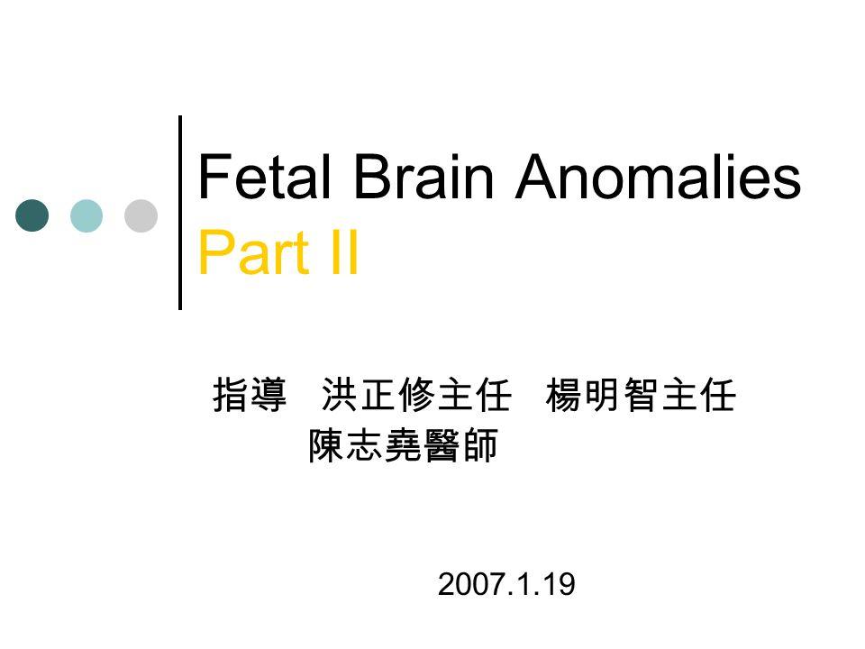 Fetal Brain Anomalies Part II 指導 洪正修主任 楊明智主任 陳志堯醫師 2007.1.19