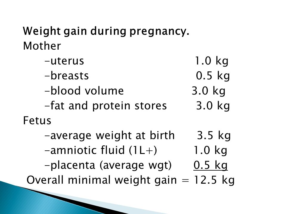 Weight gain during pregnancy. Mother -uterus 1.0 kg -breasts 0.5 kg -blood volume 3.0 kg -fat and protein stores 3.0 kg Fetus -average weight at birth