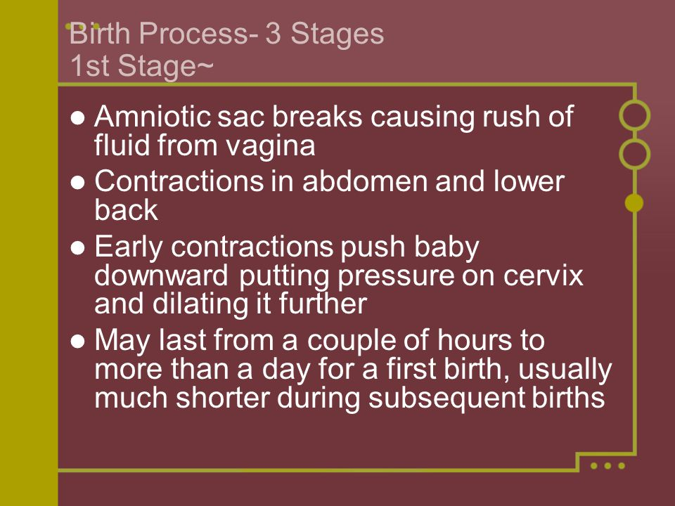 Birth Process- 3 Stages 1st Stage~ Amniotic sac breaks causing rush of fluid from vagina Contractions in abdomen and lower back Early contractions pus