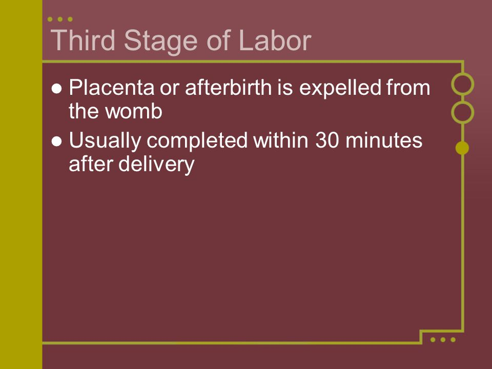 Third Stage of Labor Placenta or afterbirth is expelled from the womb Usually completed within 30 minutes after delivery