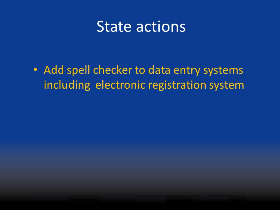 State actions Add spell checker to data entry systems including electronic registration system
