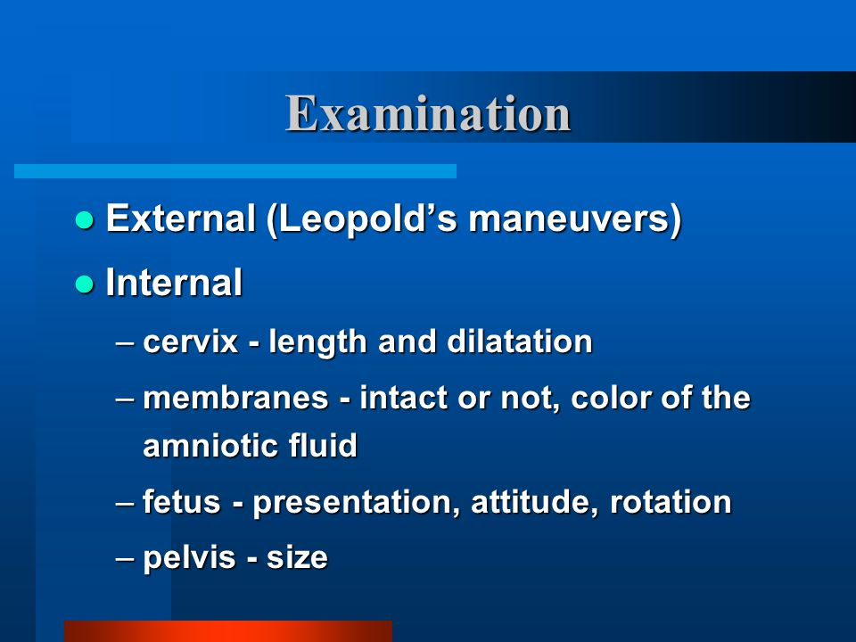 Examination External (Leopold's maneuvers) External (Leopold's maneuvers) Internal Internal –cervix - length and dilatation –membranes - intact or not