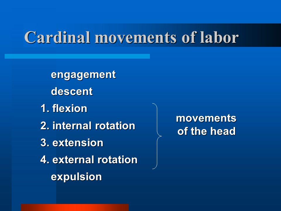 Cardinal movements of labor engagementdescent 1. flexion 2. internal rotation 3. extension 4. external rotation expulsion movements of the head